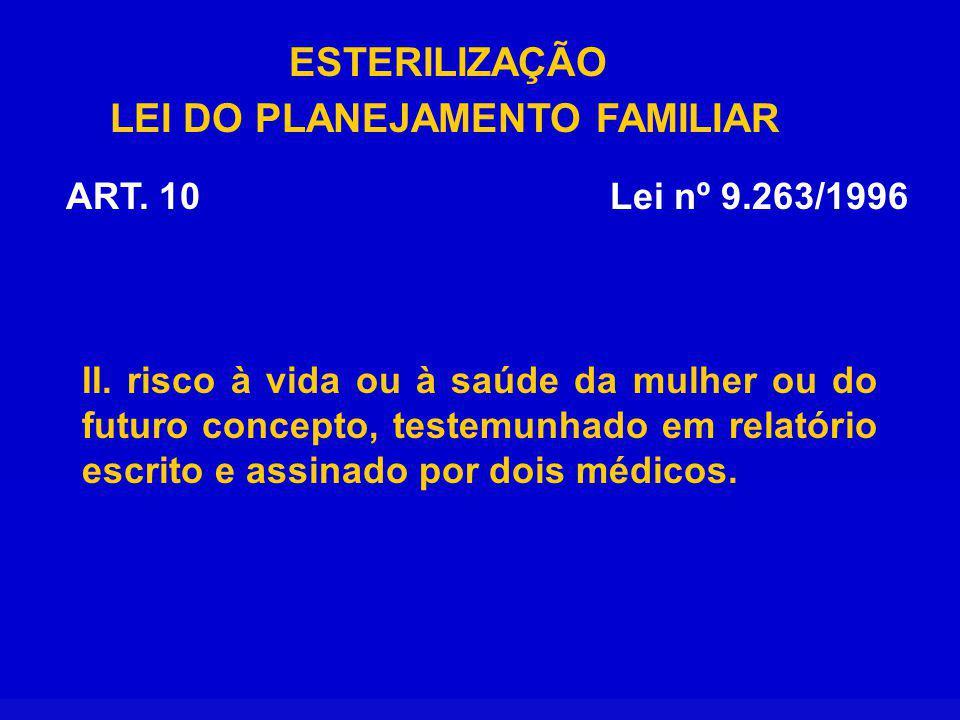 ESTERILIZAÇÃO LEI DO PLANEJAMENTO FAMILIAR Lei nº 9.263/1996ART.