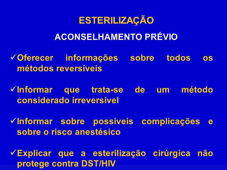 ESTERILIZAÇÃO ACONSELHAMENTO PRÉVIO Oferecer informações sobre todos os métodos reversíveis Informar que trata-se de um método considerado irreversíve