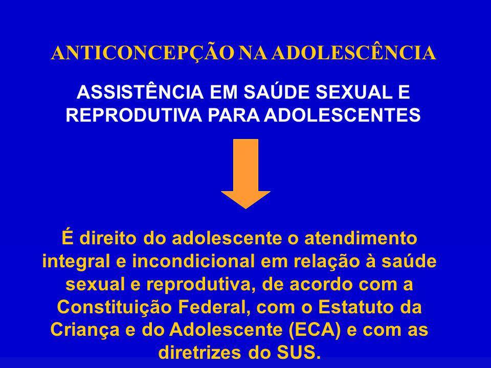 ANTICONCEPÇÃO NA ADOLESCÊNCIA ASSISTÊNCIA EM SAÚDE SEXUAL E REPRODUTIVA PARA ADOLESCENTES É direito do adolescente o atendimento integral e incondicional em relação à saúde sexual e reprodutiva, de acordo com a Constituição Federal, com o Estatuto da Criança e do Adolescente (ECA) e com as diretrizes do SUS.