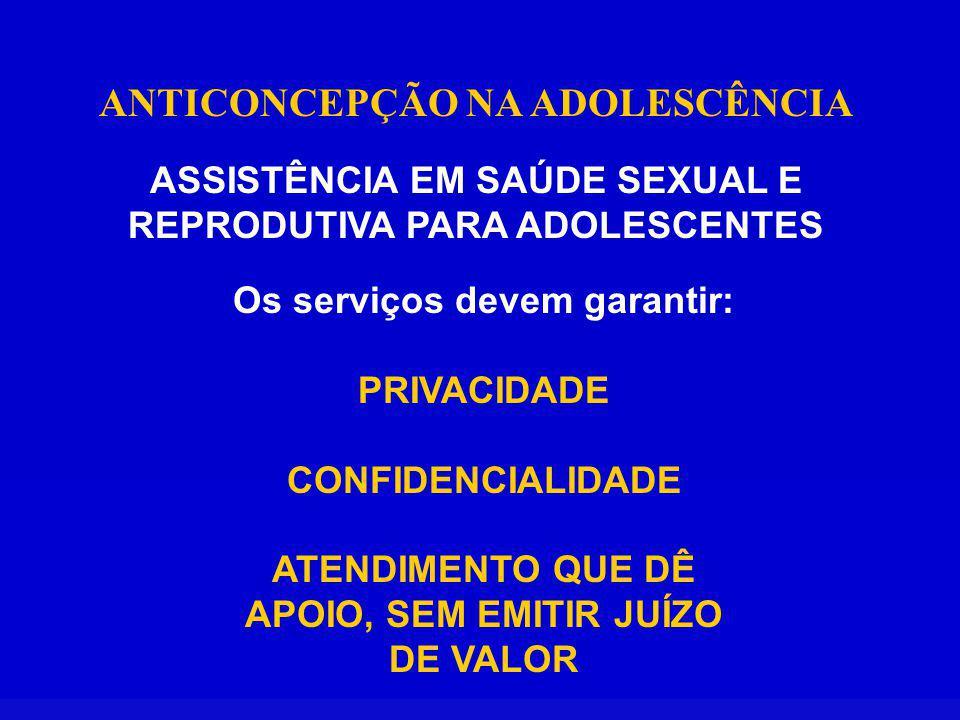 ANTICONCEPÇÃO NA ADOLESCÊNCIA ASSISTÊNCIA EM SAÚDE SEXUAL E REPRODUTIVA PARA ADOLESCENTES Os serviços devem garantir: PRIVACIDADE CONFIDENCIALIDADE ATENDIMENTO QUE DÊ APOIO, SEM EMITIR JUÍZO DE VALOR