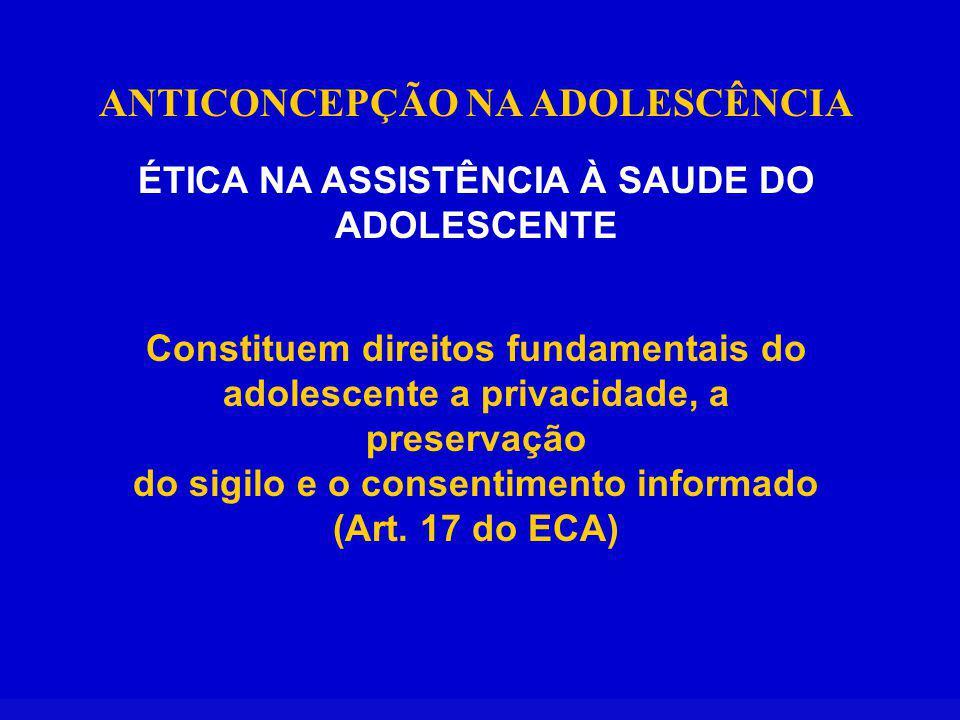 ANTICONCEPÇÃO NA ADOLESCÊNCIA ÉTICA NA ASSISTÊNCIA À SAUDE DO ADOLESCENTE Constituem direitos fundamentais do adolescente a privacidade, a preservação do sigilo e o consentimento informado (Art.
