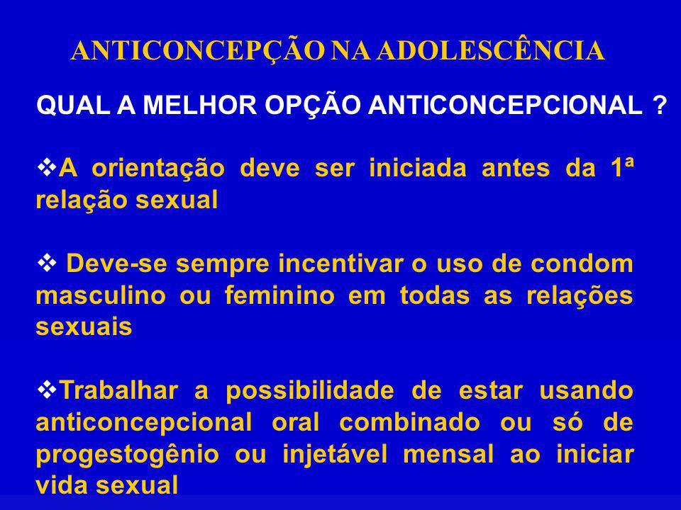 ANTICONCEPÇÃO NA ADOLESCÊNCIA QUAL A MELHOR OPÇÃO ANTICONCEPCIONAL .