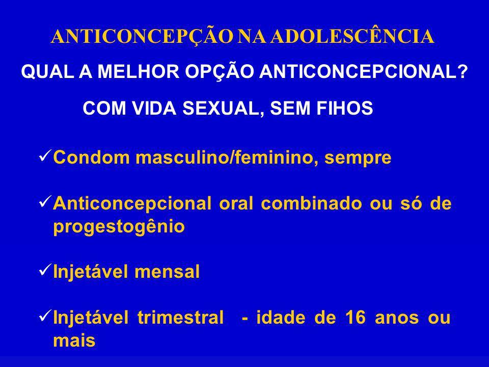 ANTICONCEPÇÃO NA ADOLESCÊNCIA QUAL A MELHOR OPÇÃO ANTICONCEPCIONAL? COM VIDA SEXUAL, SEM FIHOS Condom masculino/feminino, sempre Anticoncepcional oral