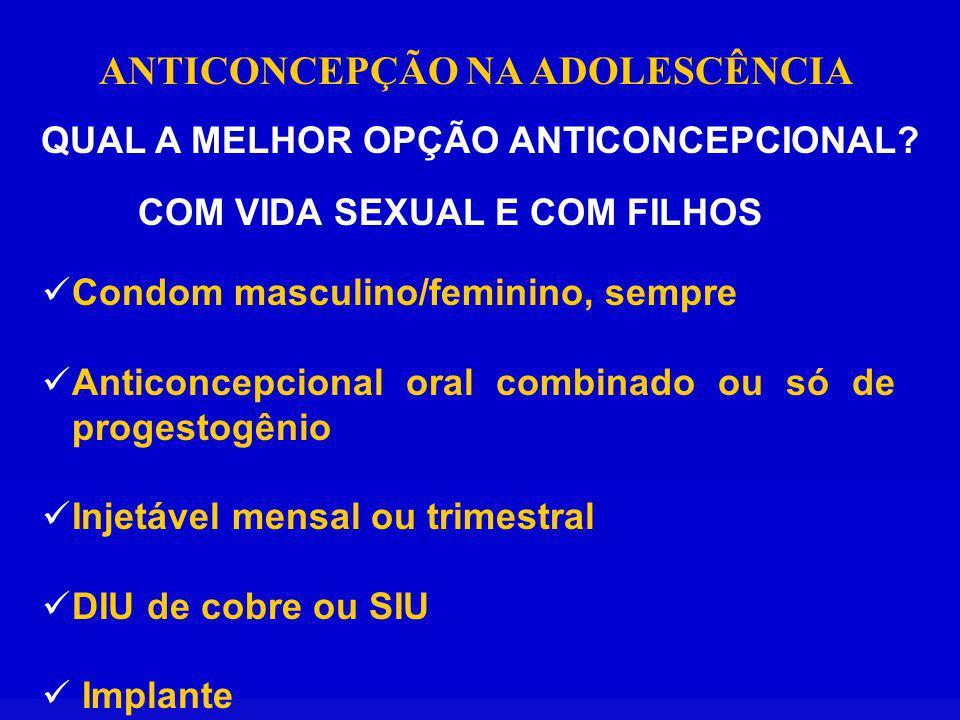 ANTICONCEPÇÃO NA ADOLESCÊNCIA QUAL A MELHOR OPÇÃO ANTICONCEPCIONAL? COM VIDA SEXUAL E COM FILHOS Condom masculino/feminino, sempre Anticoncepcional or