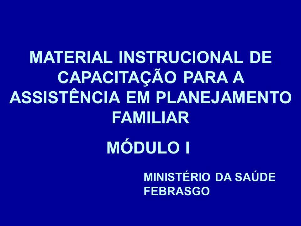MATERIAL INSTRUCIONAL DE CAPACITAÇÃO PARA A ASSISTÊNCIA EM PLANEJAMENTO FAMILIAR MINISTÉRIO DA SAÚDE FEBRASGO MÓDULO I