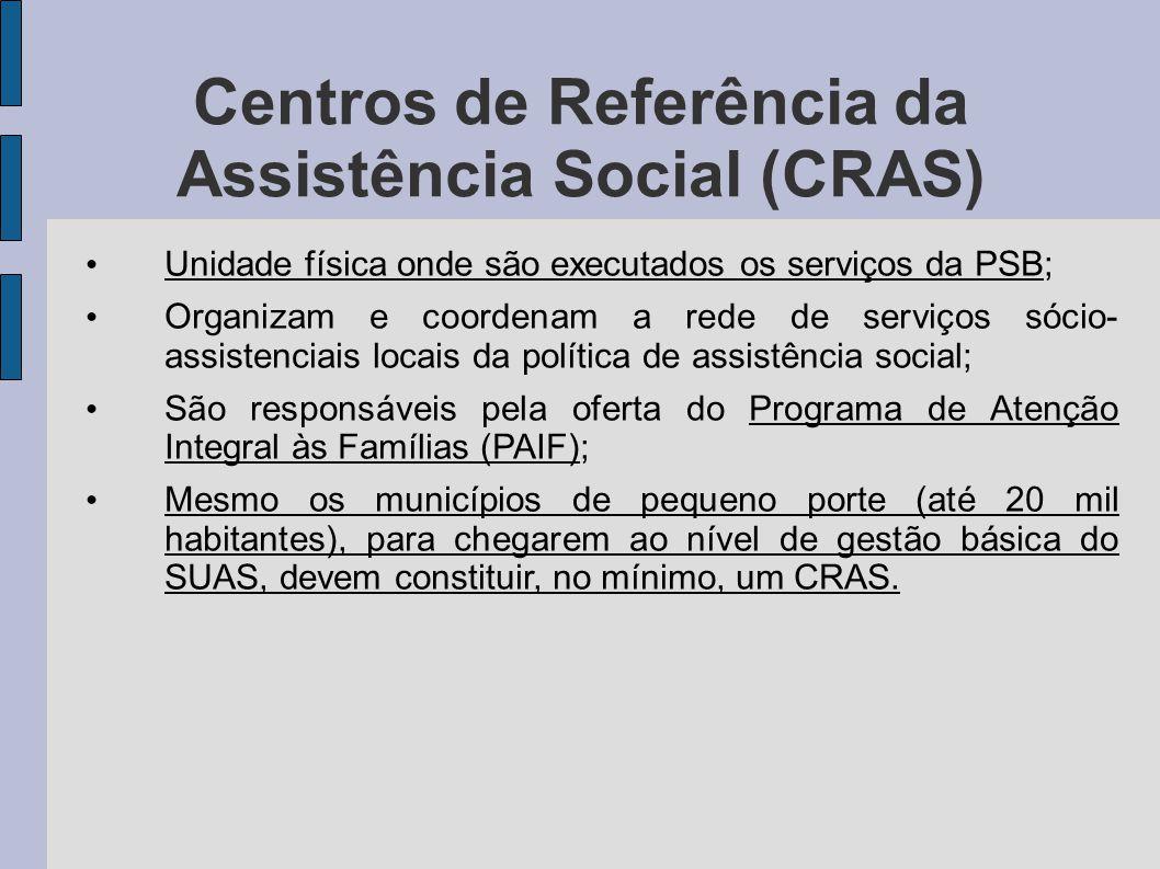 Centros de Referência da Assistência Social (CRAS) Unidade física onde são executados os serviços da PSB; Organizam e coordenam a rede de serviços sóc