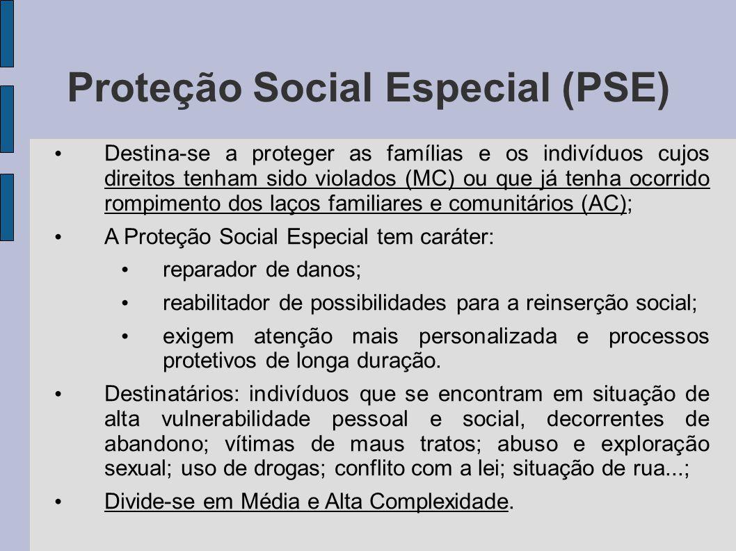 Proteção Social Especial (PSE) Destina-se a proteger as famílias e os indivíduos cujos direitos tenham sido violados (MC) ou que já tenha ocorrido rom
