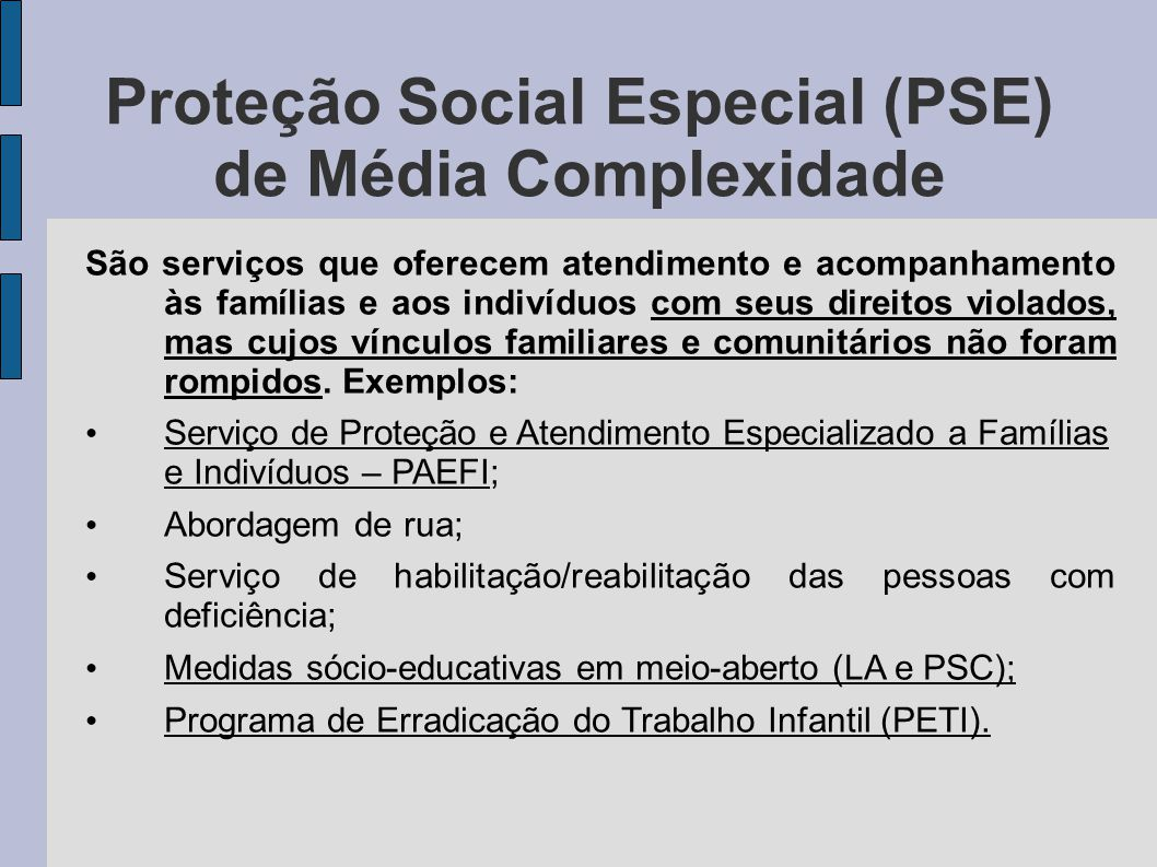 Proteção Social Especial (PSE) de Média Complexidade São serviços que oferecem atendimento e acompanhamento às famílias e aos indivíduos com seus dire