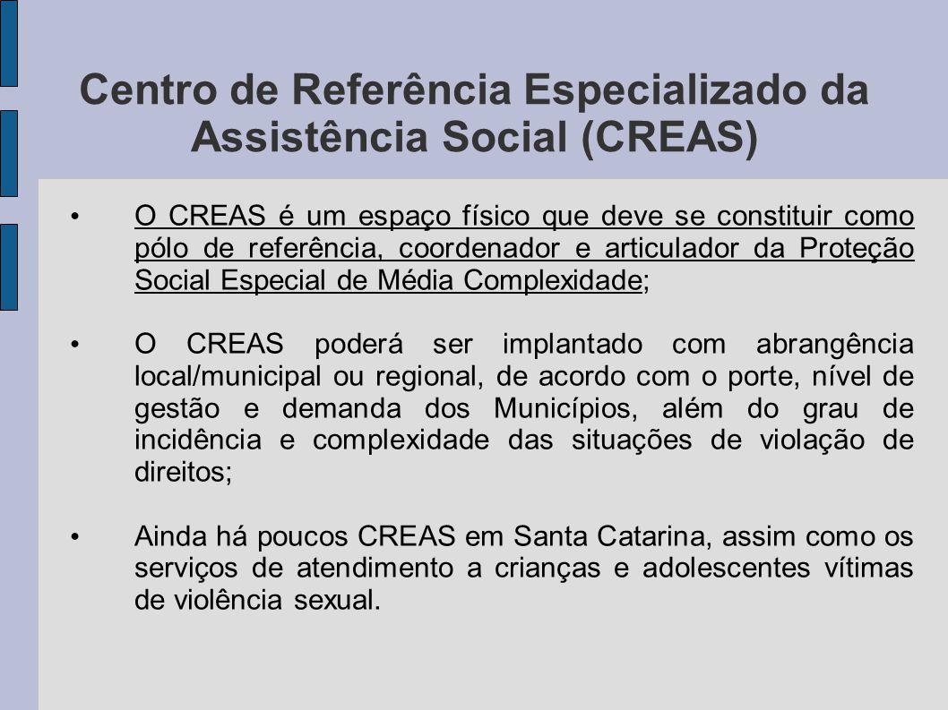 Centro de Referência Especializado da Assistência Social (CREAS) O CREAS é um espaço físico que deve se constituir como pólo de referência, coordenado
