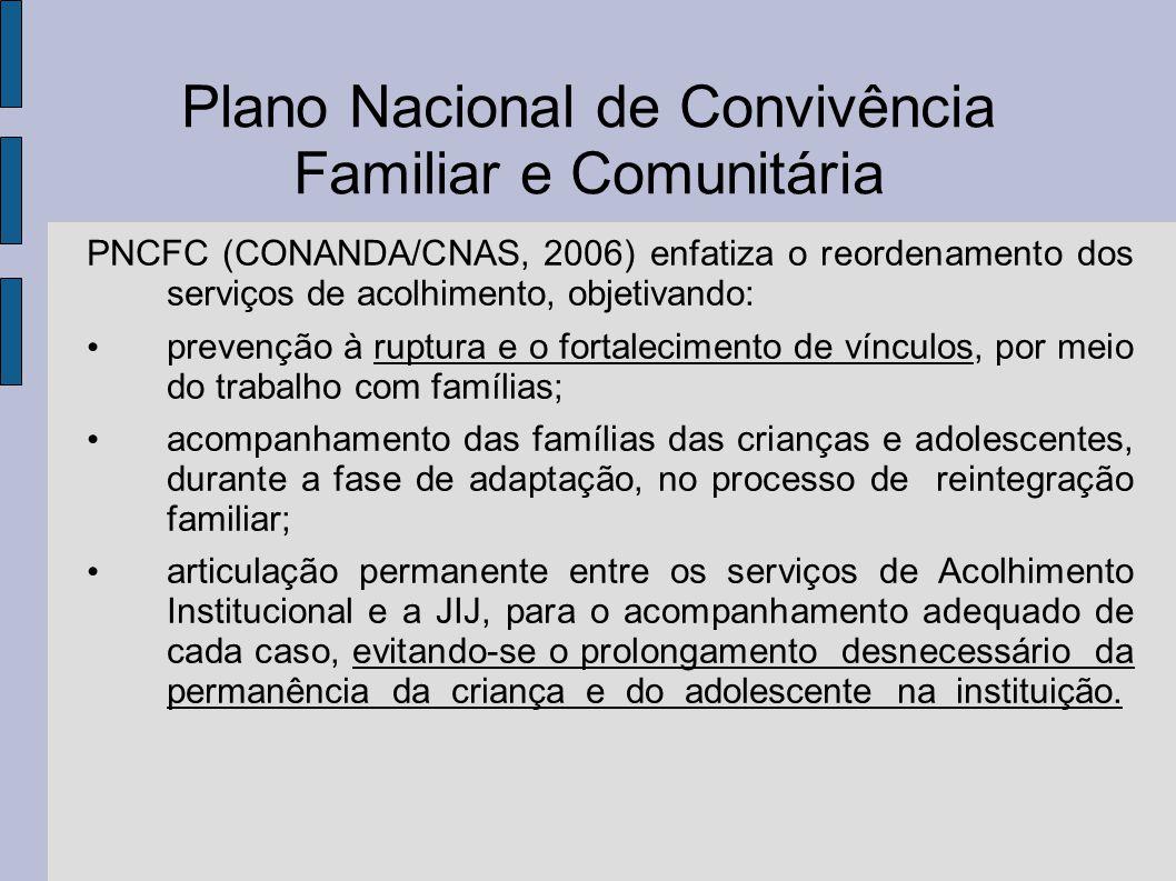 Plano Nacional de Convivência Familiar e Comunitária PNCFC (CONANDA/CNAS, 2006) enfatiza o reordenamento dos serviços de acolhimento, objetivando: pre