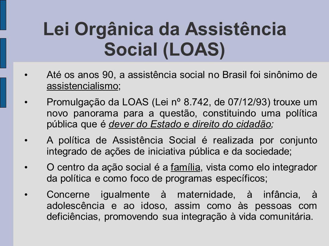 Lei Orgânica da Assistência Social (LOAS) Até os anos 90, a assistência social no Brasil foi sinônimo de assistencialismo; Promulgação da LOAS (Lei nº