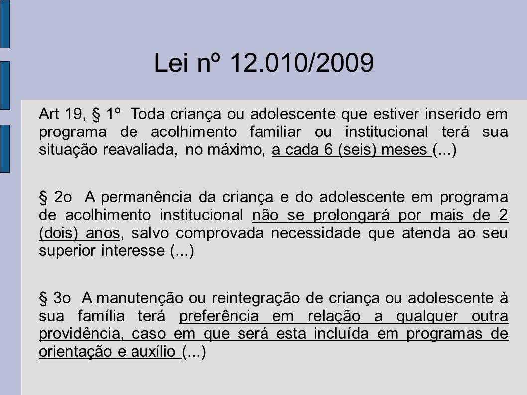 Lei nº 12.010/2009 Art 19, § 1º Toda criança ou adolescente que estiver inserido em programa de acolhimento familiar ou institucional terá sua situaçã