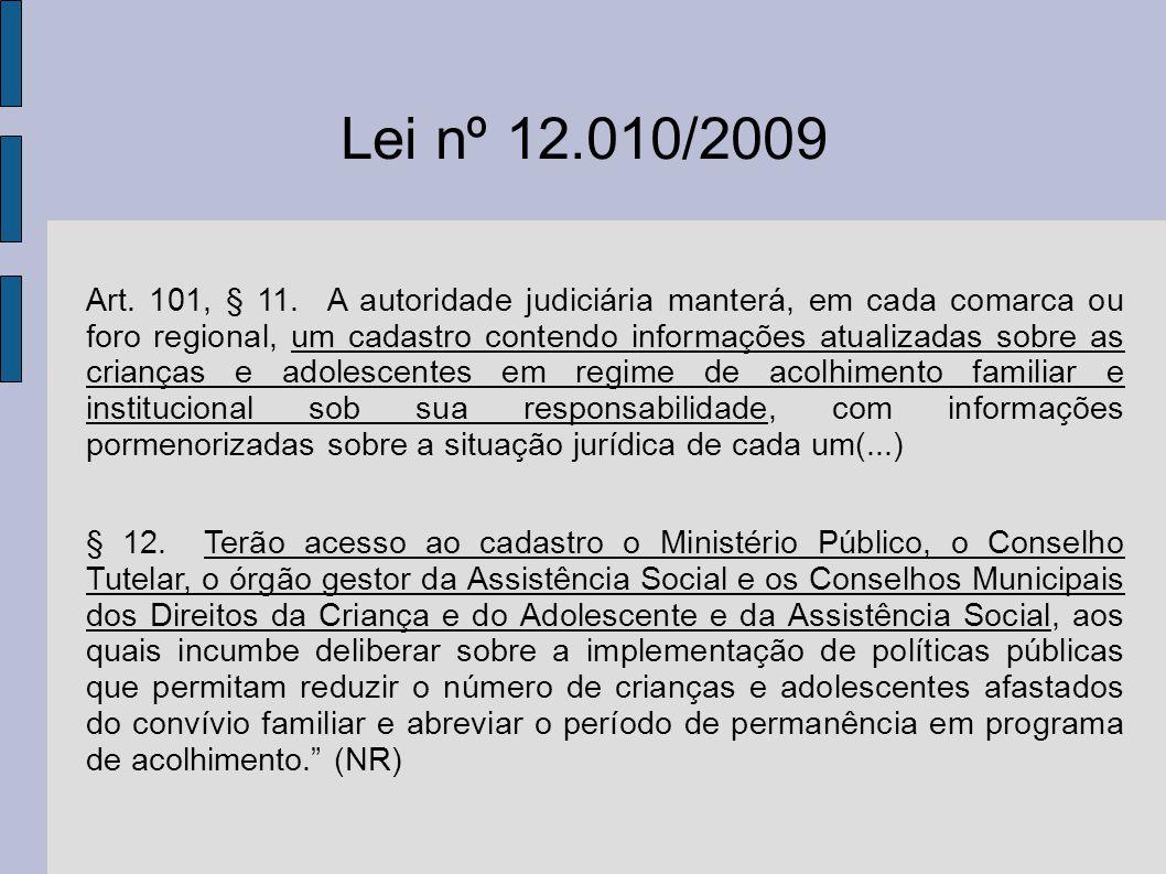 Lei nº 12.010/2009 Art. 101, § 11. A autoridade judiciária manterá, em cada comarca ou foro regional, um cadastro contendo informações atualizadas sob