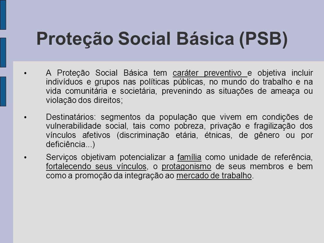 Proteção Social Básica (PSB) A Proteção Social Básica tem caráter preventivo e objetiva incluir indivíduos e grupos nas políticas públicas, no mundo d