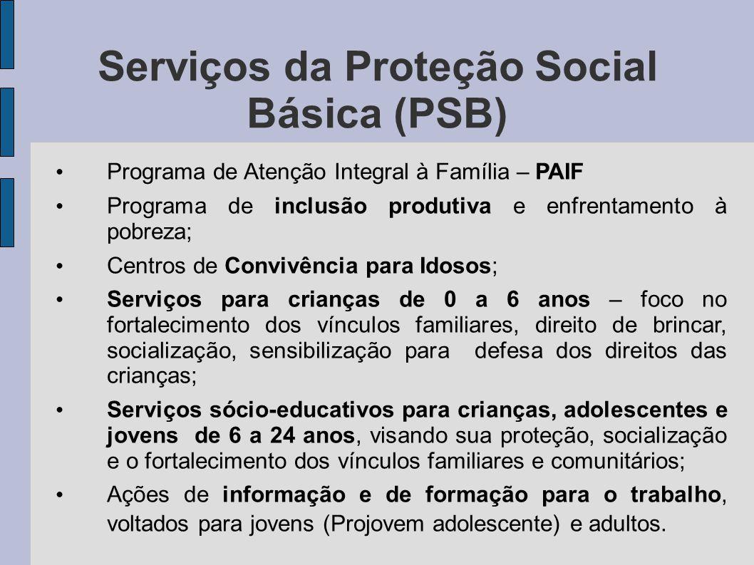 Centros de Referência da Assistência Social (CRAS) Unidade física onde são executados os serviços da PSB; Organizam e coordenam a rede de serviços sócio- assistenciais locais da política de assistência social; São responsáveis pela oferta do Programa de Atenção Integral às Famílias (PAIF); Mesmo os municípios de pequeno porte (até 20 mil habitantes), para chegarem ao nível de gestão básica do SUAS, devem constituir, no mínimo, um CRAS.