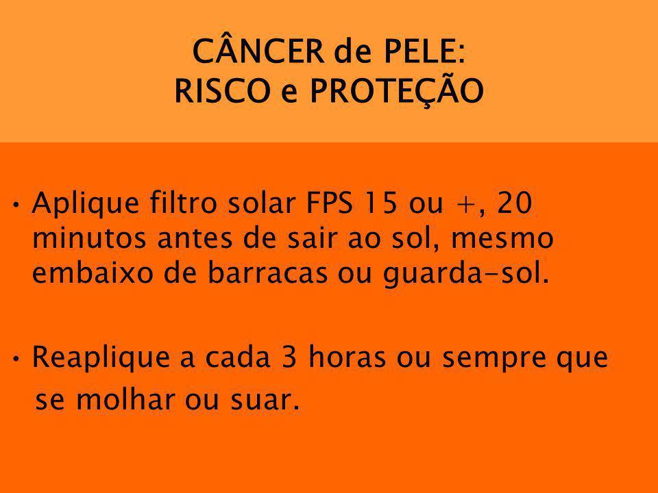 CÂNCER de PELE: RISCO e PROTEÇÃO Aplique filtro solar FPS 15 ou +, 20 minutos antes de sair ao sol, mesmo embaixo de barracas ou guarda-sol. Reaplique