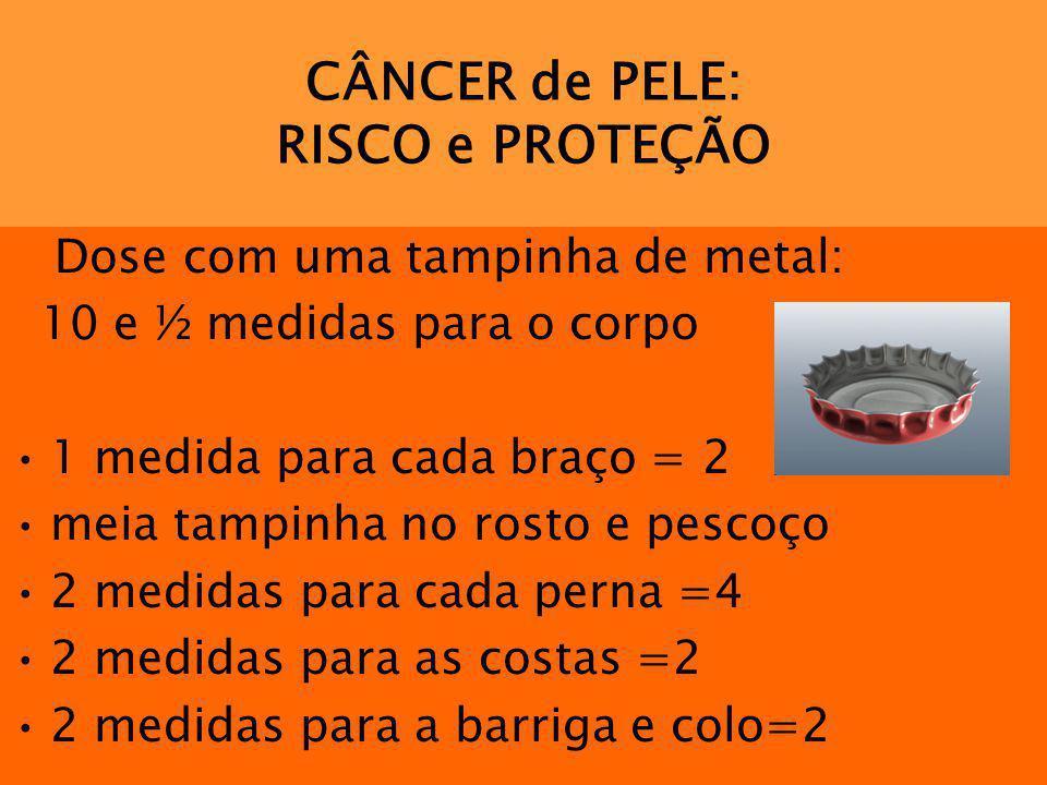 CÂNCER de PELE: RISCO e PROTEÇÃO Dose com uma tampinha de metal: 10 e ½ medidas para o corpo 1 medida para cada braço = 2 meia tampinha no rosto e pes