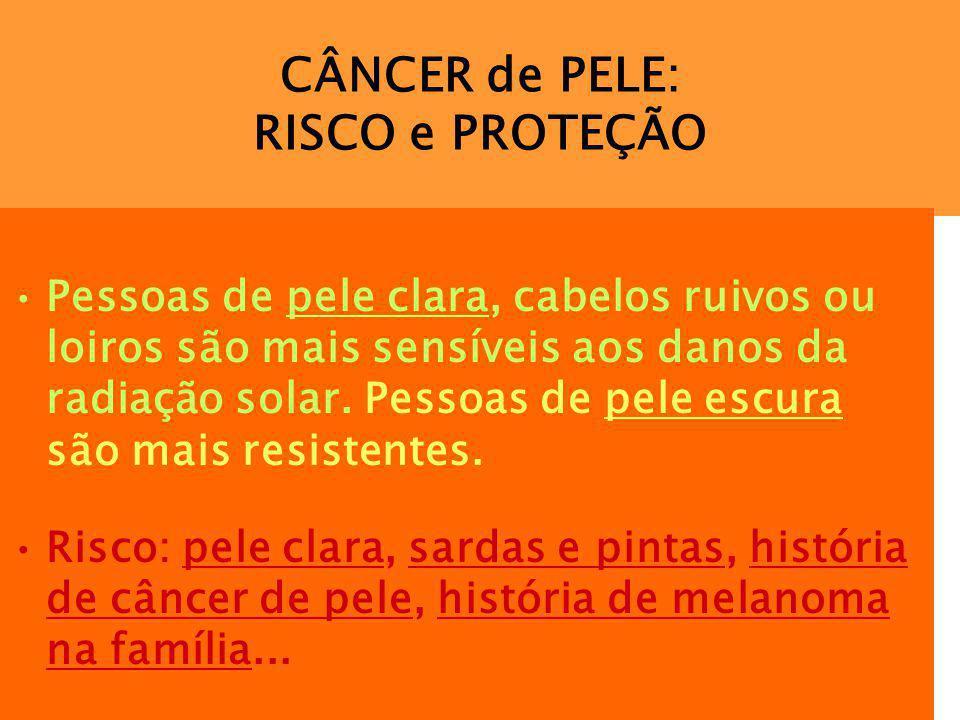 CÂNCER de PELE: RISCO e PROTEÇÃO Pessoas de pele clara, cabelos ruivos ou loiros são mais sensíveis aos danos da radiação solar. Pessoas de pele escur