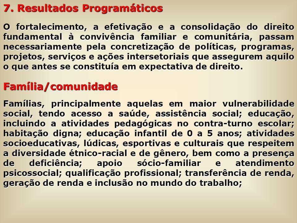 7. Resultados Programáticos O fortalecimento, a efetivação e a consolidação do direito fundamental à convivência familiar e comunitária, passam necess