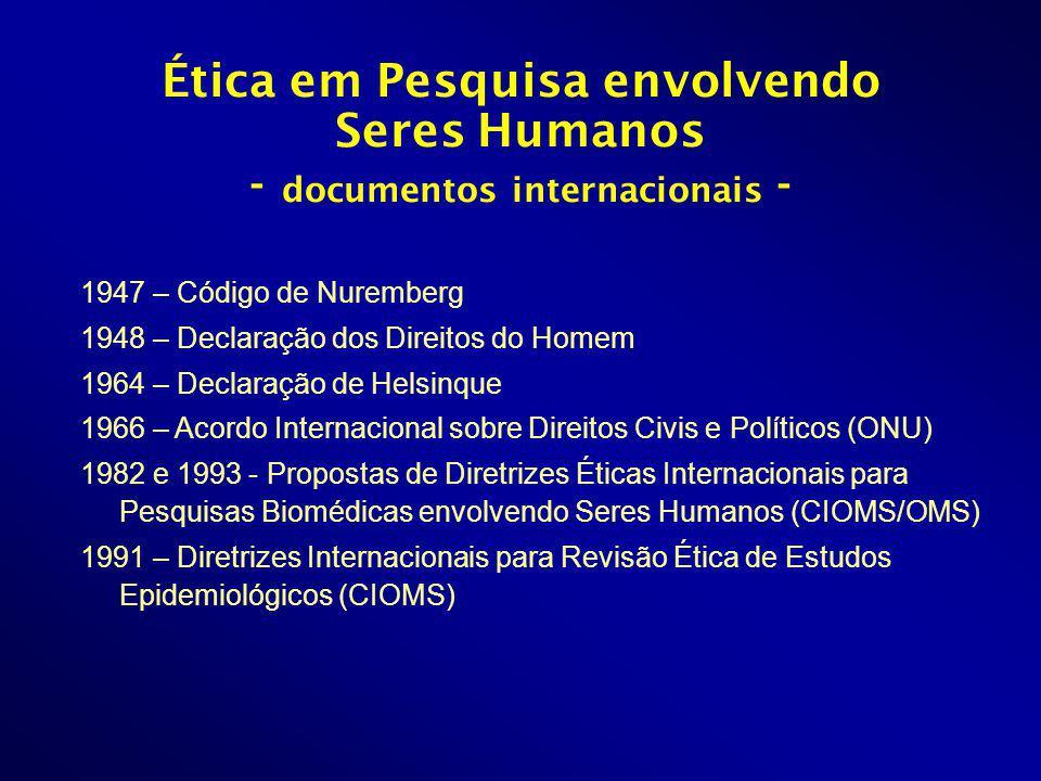 1947 – Código de Nuremberg 1948 – Declaração dos Direitos do Homem 1964 – Declaração de Helsinque 1966 – Acordo Internacional sobre Direitos Civis e Políticos (ONU) 1982 e 1993 - Propostas de Diretrizes Éticas Internacionais para Pesquisas Biomédicas envolvendo Seres Humanos (CIOMS/OMS) 1991 – Diretrizes Internacionais para Revisão Ética de Estudos Epidemiológicos (CIOMS) Ética em Pesquisa envolvendo Seres Humanos - documentos internacionais -