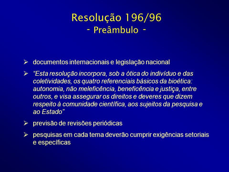Resolução 196/96 - Preâmbulo - documentos internacionais e legislação nacional Esta resolução incorpora, sob a ótica do indivíduo e das coletividades,