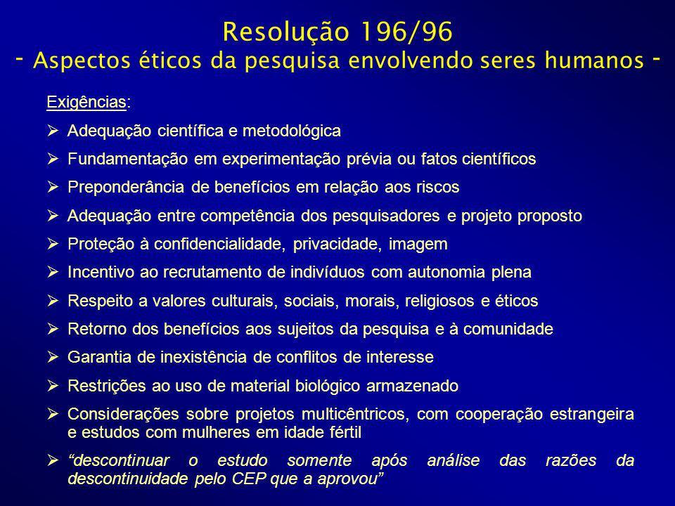 Resolução 196/96 - Aspectos éticos da pesquisa envolvendo seres humanos - Exigências: Adequação científica e metodológica Fundamentação em experimenta