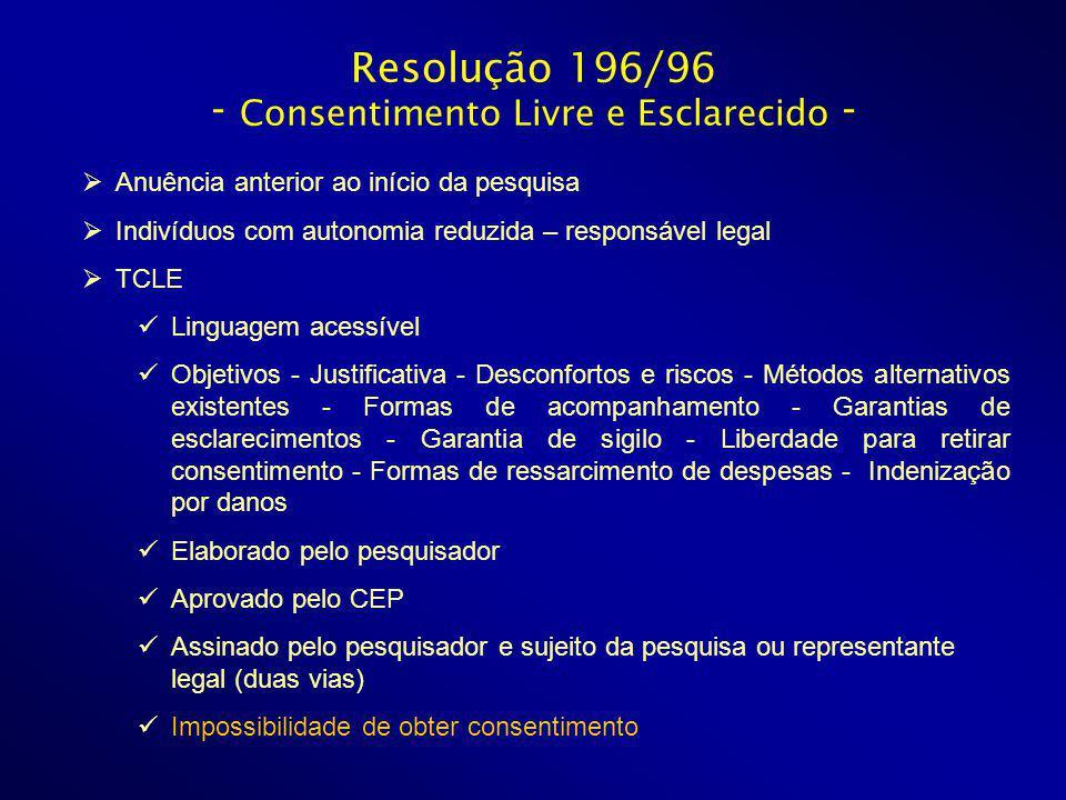 Resolução 196/96 - Consentimento Livre e Esclarecido - Anuência anterior ao início da pesquisa Indivíduos com autonomia reduzida – responsável legal T