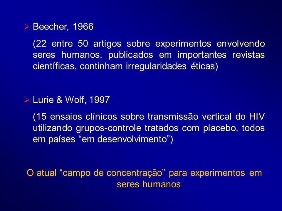 Beecher, 1966 (22 entre 50 artigos sobre experimentos envolvendo seres humanos, publicados em importantes revistas científicas, continham irregularidades éticas) Lurie & Wolf, 1997 (15 ensaios clínicos sobre transmissão vertical do HIV utilizando grupos-controle tratados com placebo, todos em países em desenvolvimento) O atual campo de concentração para experimentos em seres humanos