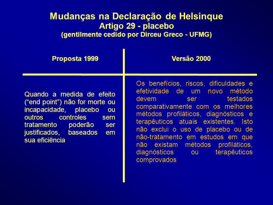 Mudanças na Declaração de Helsinque Artigo 29 - placebo (gentilmente cedido por Dirceu Greco - UFMG) Quando a medida de efeito (end point) não for mor