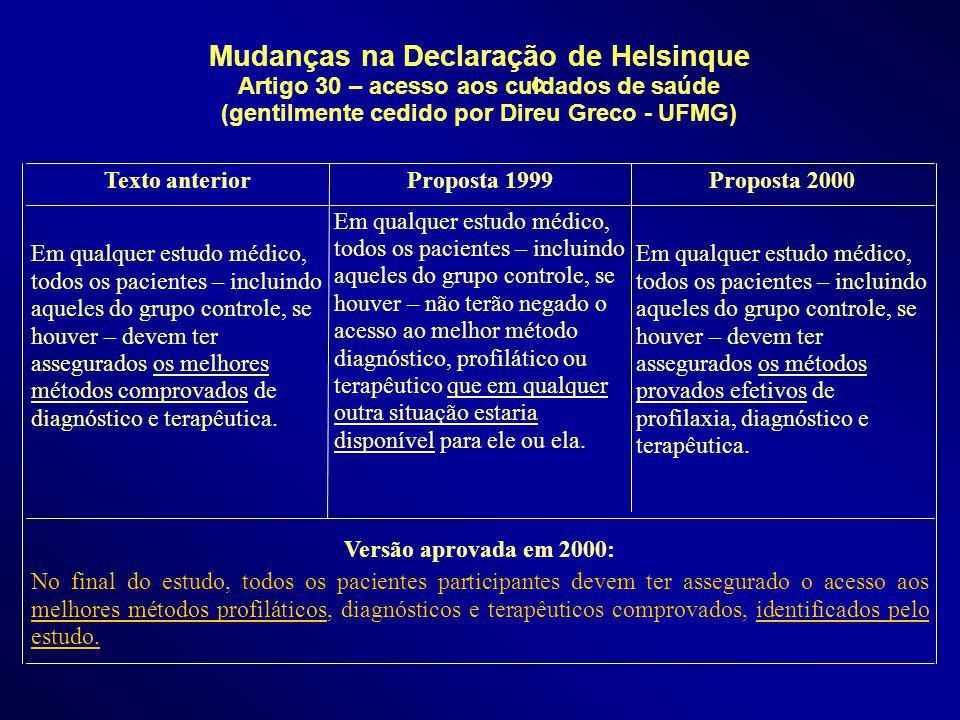 Mudanças na Declaração de Helsinque Artigo 30 – acesso aos cuidados de saúde (gentilmente cedido por Direu Greco - UFMG) Versão aprovada em 2000: No f