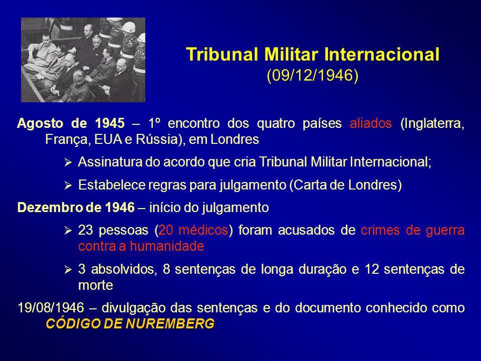 Agosto de 1945 – 1º encontro dos quatro países aliados (Inglaterra, França, EUA e Rússia), em Londres Assinatura do acordo que cria Tribunal Militar I