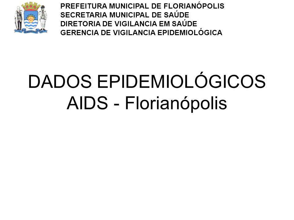 DADOS EPIDEMIOLÓGICOS AIDS - Florianópolis PREFEITURA MUNICIPAL DE FLORIANÓPOLIS SECRETARIA MUNICIPAL DE SAÚDE DIRETORIA DE VIGILANCIA EM SAÚDE GERENC
