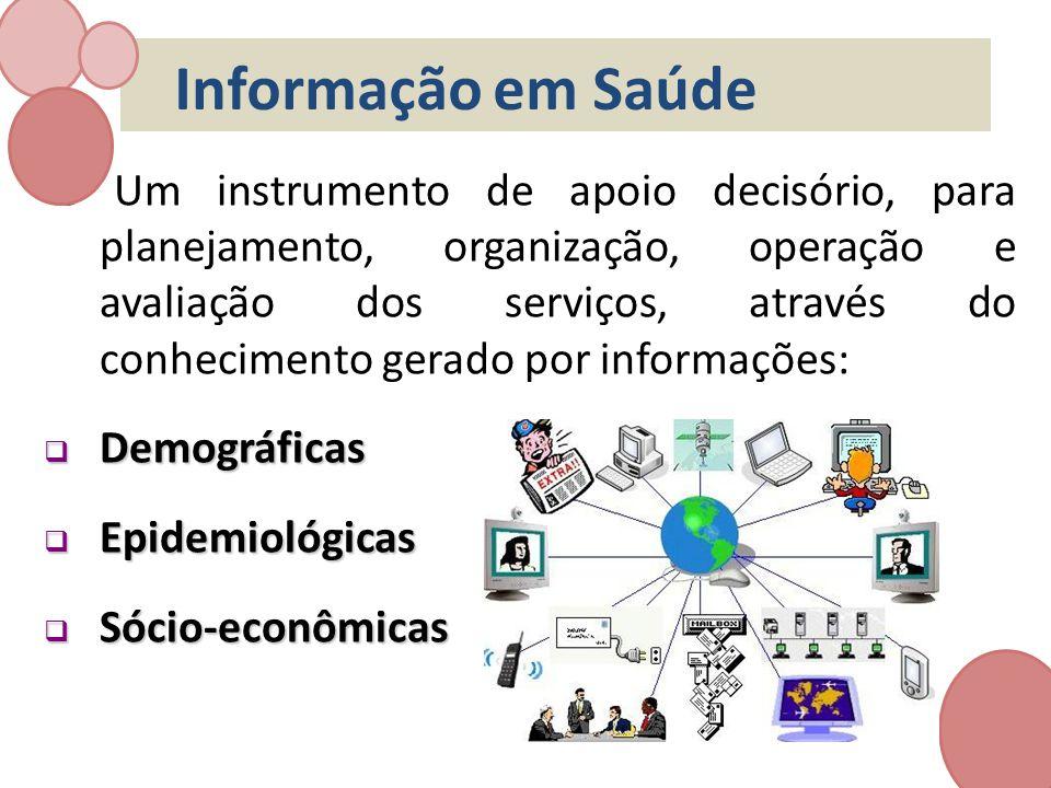 Informação em Saúde é Um instrumento de apoio decisório, para planejamento, organização, operação e avaliação dos serviços, através do conhecimento ge