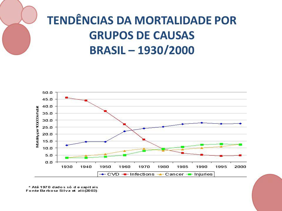 GRUPOSTAXA/ MIL HABITANTES % INFECCIOSAS, PARASITÁRIAS E DESNUTRIÇÃO 34 14,8 CAUSAS EXTERNAS 19 10,2 CONDIÇÕES MATERNAS E PERINATAIS 21 8,8 OUTRAS DOENÇAS NÃO TRANSMISSÍVEIS 124 66,2 TOTAL 232 100,0 FONTE:SCHRAMM et alii ( 2004)