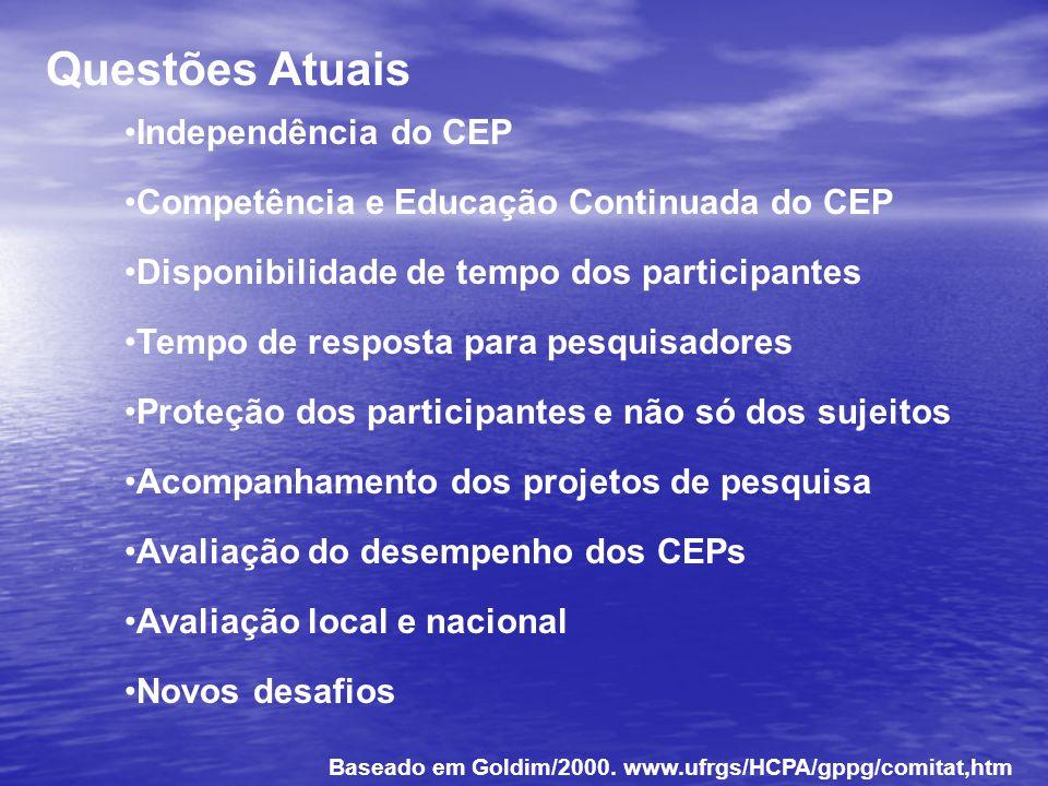 Questões Atuais Independência do CEP Competência e Educação Continuada do CEP Disponibilidade de tempo dos participantes Tempo de resposta para pesqui