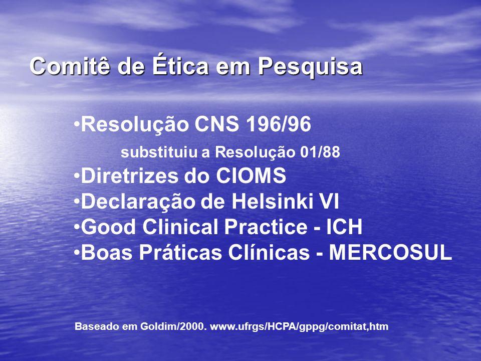 Resolução CNS 196/96 substituiu a Resolução 01/88 Diretrizes do CIOMS Declaração de Helsinki VI Good Clinical Practice - ICH Boas Práticas Clínicas -