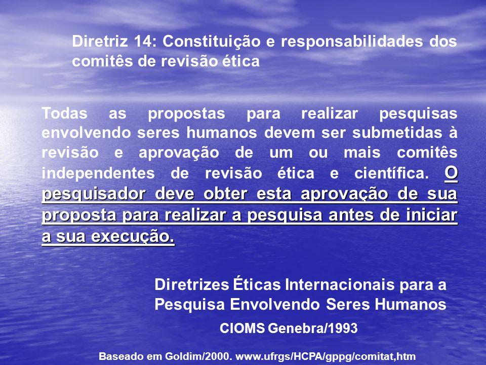 Diretriz 14: Constituição e responsabilidades dos comitês de revisão ética O pesquisador deve obter esta aprovação de sua proposta para realizar a pes