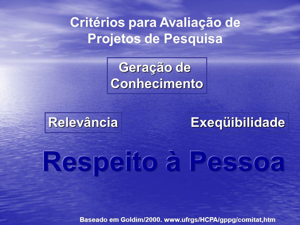 Critérios para Avaliação de Projetos de Pesquisa Geração de Conhecimento RelevânciaExeqüibilidade Baseado em Goldim/2000. www.ufrgs/HCPA/gppg/comitat,