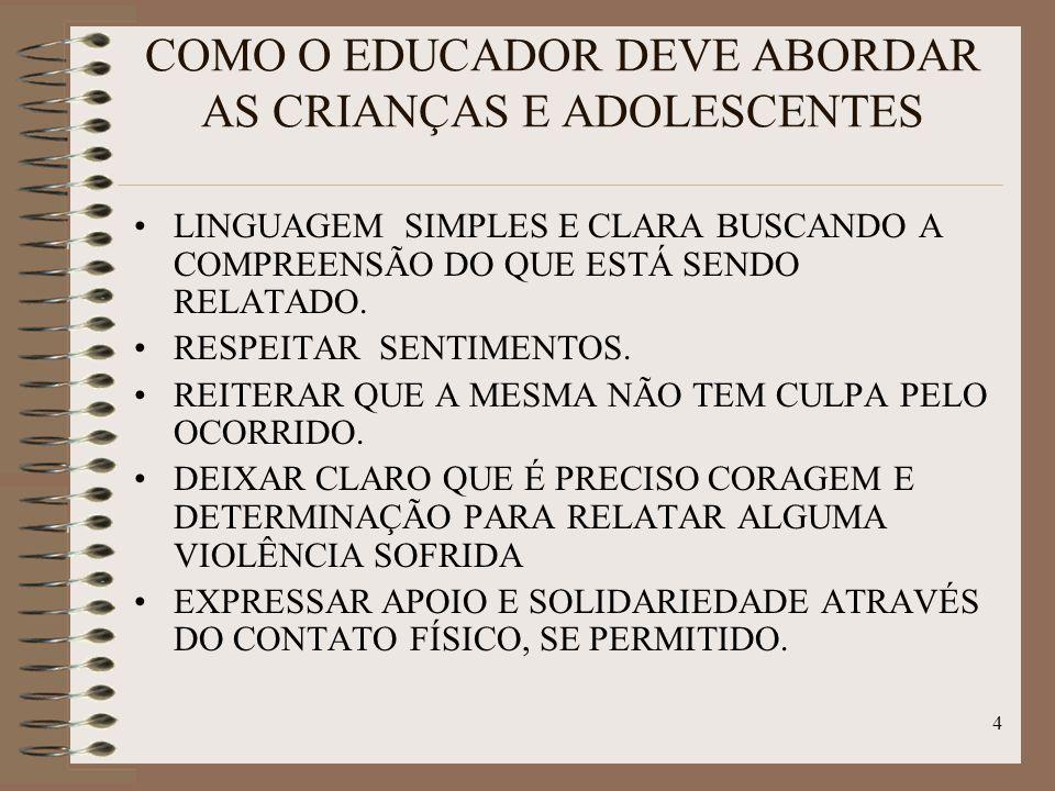 4 COMO O EDUCADOR DEVE ABORDAR AS CRIANÇAS E ADOLESCENTES LINGUAGEM SIMPLES E CLARA BUSCANDO A COMPREENSÃO DO QUE ESTÁ SENDO RELATADO. RESPEITAR SENTI
