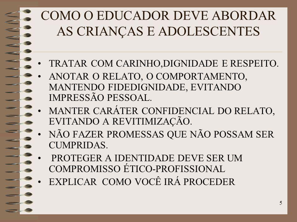 5 COMO O EDUCADOR DEVE ABORDAR AS CRIANÇAS E ADOLESCENTES TRATAR COM CARINHO,DIGNIDADE E RESPEITO. ANOTAR O RELATO, O COMPORTAMENTO, MANTENDO FIDEDIGN