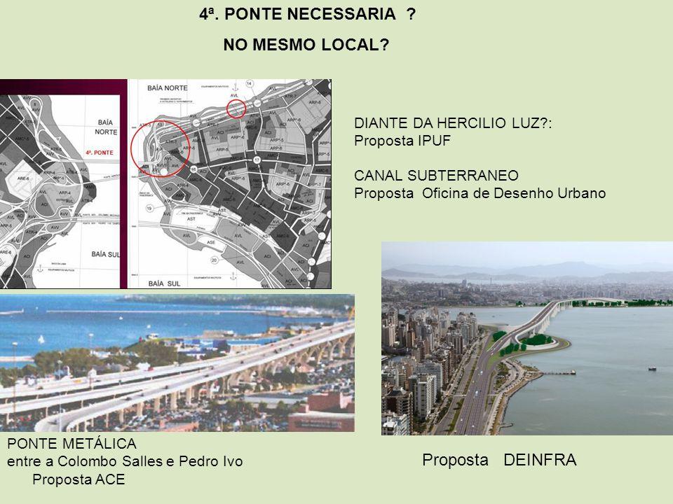 PONTE METÁLICA entre a Colombo Salles e Pedro Ivo Proposta ACE CANAL SUBTERRANEO Proposta Oficina de Desenho Urbano DIANTE DA HERCILIO LUZ?: Proposta