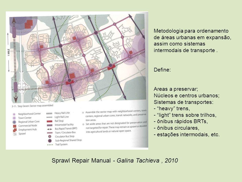 Metodologia para ordenamento de áreas urbanas em expansão, assim como sistemas intermodais de transporte. Define: Areas a preservar; Núcleos e centros