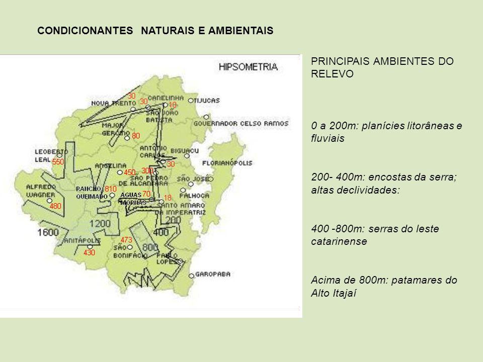 PRINCIPAIS AMBIENTES DO RELEVO 0 a 200m: planícies litorâneas e fluviais 200- 400m: encostas da serra; altas declividades: 400 -800m: serras do leste