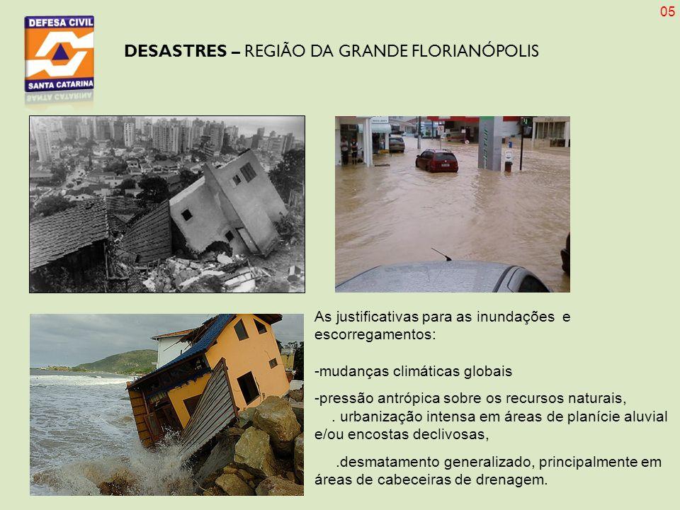 DESASTRES – REGIÃO DA GRANDE FLORIANÓPOLIS As justificativas para as inundações e escorregamentos: -mudanças climáticas globais -pressão antrópica sob