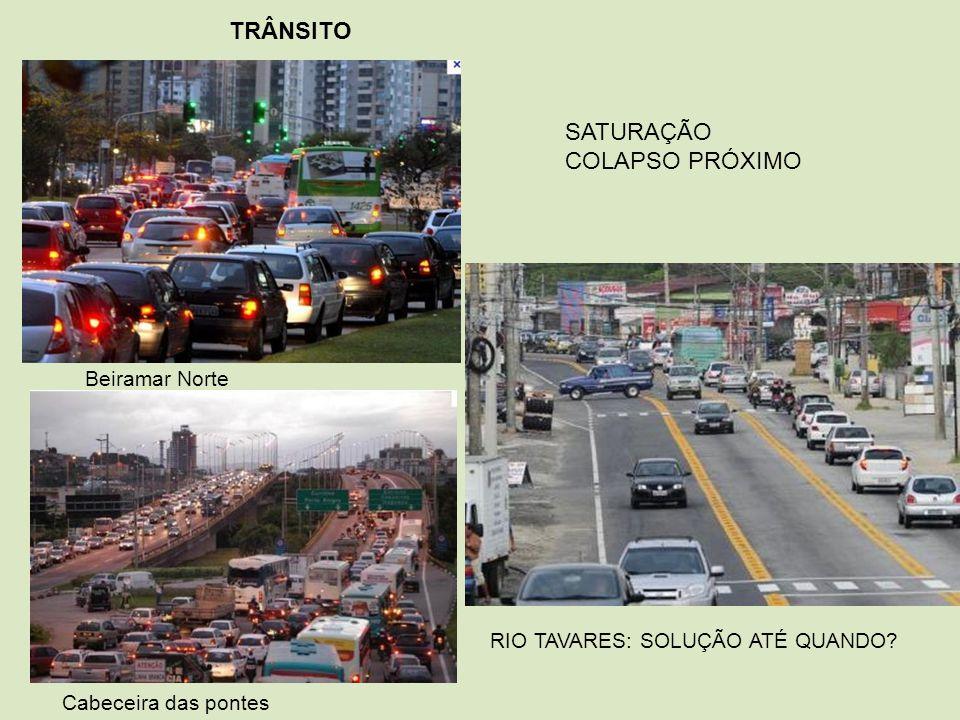 TRÂNSITO SATURAÇÃO COLAPSO PRÓXIMO Beiramar Norte Cabeceira das pontes RIO TAVARES: SOLUÇÃO ATÉ QUANDO?