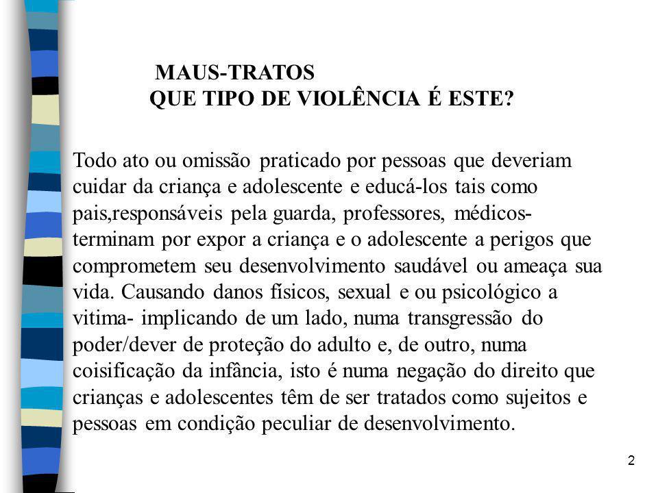 2 MAUS-TRATOS QUE TIPO DE VIOLÊNCIA É ESTE? Todo ato ou omissão praticado por pessoas que deveriam cuidar da criança e adolescente e educá-los tais co