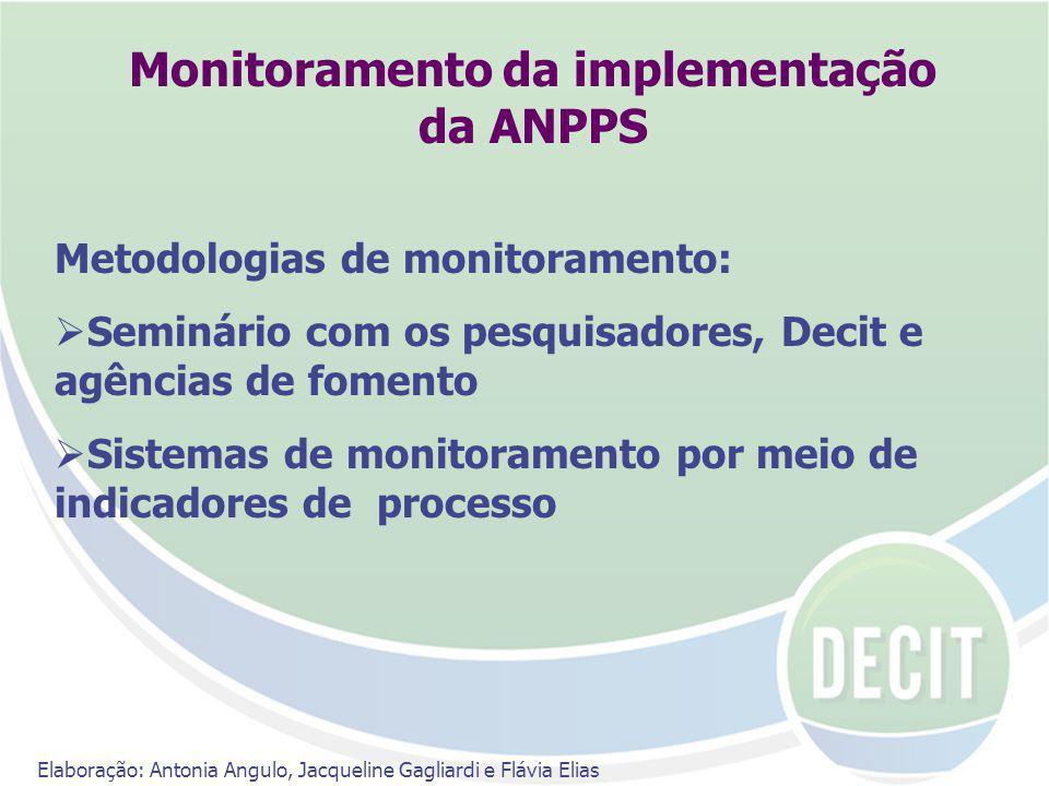 Monitoramento da implementação da ANPPS Metodologias de monitoramento: Seminário com os pesquisadores, Decit e agências de fomento Sistemas de monitoramento por meio de indicadores de processo Elaboração: Antonia Angulo, Jacqueline Gagliardi e Flávia Elias