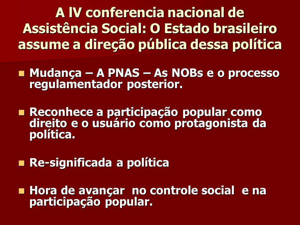A lV conferencia nacional de Assistência Social: O Estado brasileiro assume a direção pública dessa política Mudança – A PNAS – As NOBs e o processo regulamentador posterior.
