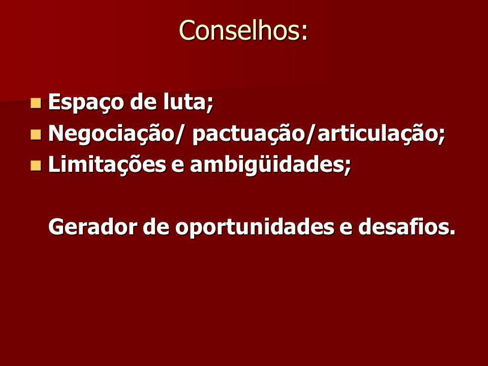 Conselhos: Espaço de luta; Espaço de luta; Negociação/ pactuação/articulação; Negociação/ pactuação/articulação; Limitações e ambigüidades; Limitações e ambigüidades; Gerador de oportunidades e desafios.