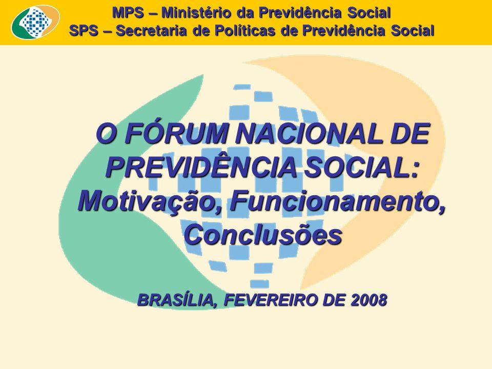 MPS – Ministério da Previdência Social SPS – Secretaria de Políticas de Previdência Social O FÓRUM NACIONAL DE PREVIDÊNCIA SOCIAL: Motivação, Funcionamento, Conclusões BRASÍLIA, FEVEREIRO DE 2008